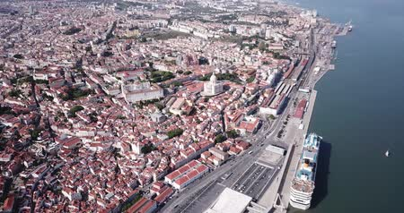 sao : Picturesque aerial view of historical district of Lisbon on bank of Tagus river with medieval Monastery and white baroque building of Church of Santa Engracia, Portugal Stock Footage