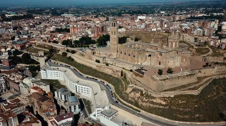 romanesk : Aerial view of cityscape of Lleida and main historical monument - Old Gothic Cathedral, Catalonia, Spain