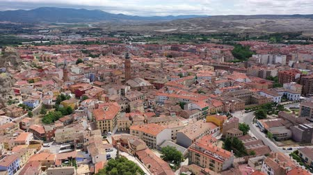 haziran : Aerial view on the city Calatayud. Zaragoza. Spain Stok Video