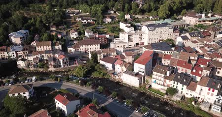 pyreneje : Aerial view of Ax-les-Thermes with buildings and The Lauze river in  France, Midi-Pyrenees