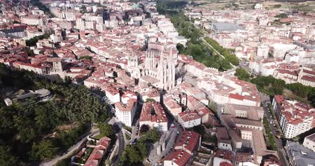 clergy : Panoramic view from the drone on the Cathedral of Burgos. Spain Stock Footage