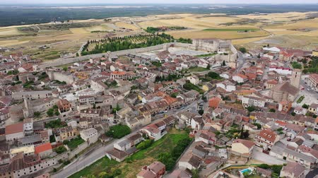 segovia : Aerial view of  Segovia Province, with Cuellar Castle and buildings, Leon, Spain