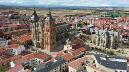 modernist : Cathedral and Episcopal Palace of Astorga in summer. Castile and Leon. Spain