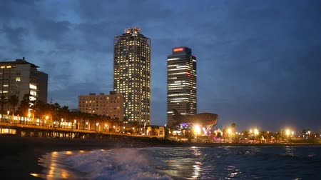 mob : View of Somorrostro Beach in summer night  Barcelona, Spain