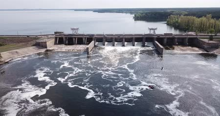 плотина : Landscape with concrete dam on river near Voronezh, Russia