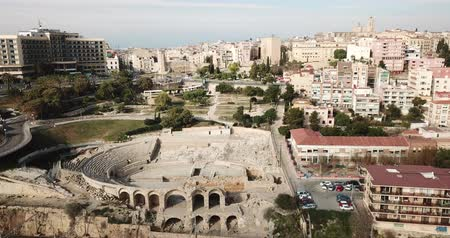 colosseo : Aerial view of ruins of ancient Roman amphitheater in Spanish city of Tarragona