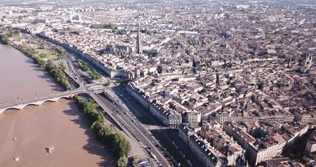Бордо : Panoramic aerial view of center of Bordeaux city, France