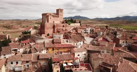 benzer : Aerial view of Cervera de la Canada cityscape with parish Church of Santa Tecla, Aragon, Spain