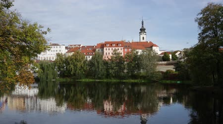Богемия : Scenic view of the city of Pisek and Otava river. Czech Republic Стоковые видеозаписи