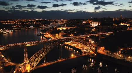 dom : Picturesque view from drone of city of Porto and Dom Luis Bridge at night, Portugal Stock Footage