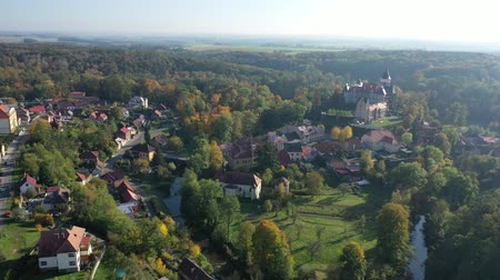 telha : Panoramic view of medieval Zleby castle in Czech Republic