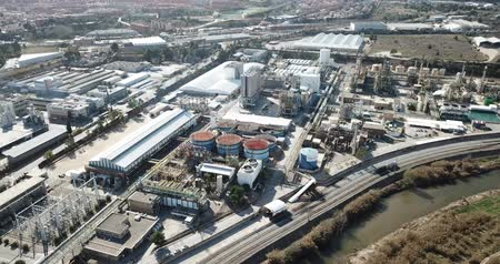 complex system : BARCELONA, SPAIN - MARCH 05, 2019: Aerial panoramic view of large vinyl producer - chemical plant at Martorell, included in INOVYN group Stock Footage