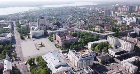lenin : Voronezh, Russia - May 5, 2019: Panoramic day view of Voronezh city center and Lenin square, Russia Stock Footage