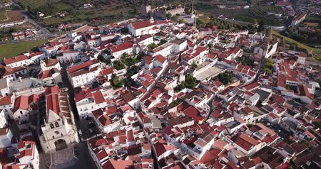episcopal : Aerial view of peculiar architecture of former Portuguese episcopal city of Elvas in spring day Stock Footage