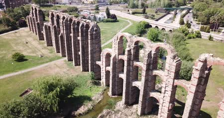 iberian : Panoramic view of old stone aqueduct in Merida, Spain