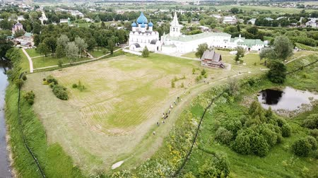 降誕 : Aerial view of architectural ensemble of Suzdal Kremlin with Cathedral of Nativity in Russian town of Suzdal