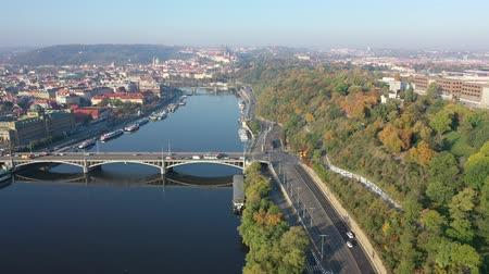 architecture and urbanism : Picturesque view from drone of Prague on banks on Vltava river, capital and largest city of Czech Republic on fall day