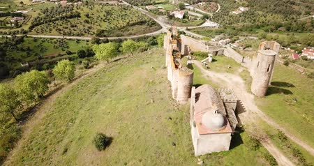 salva : Local landscape of Montemor-o-Novo municipality with ruined medieval castle on hilltop, Portugal