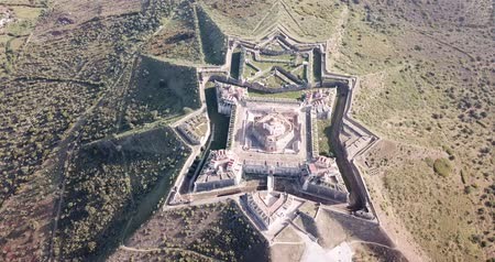 bastião : Aerial view of finest example of trace italienne in military architecture  - star-shaped Conde de Lippe Fort in Portuguese municipality of Elvas