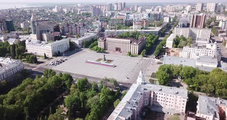 lenin : View from drone of  center of Voronezh with Lenin Square and panel buildings, Russia Stock Footage