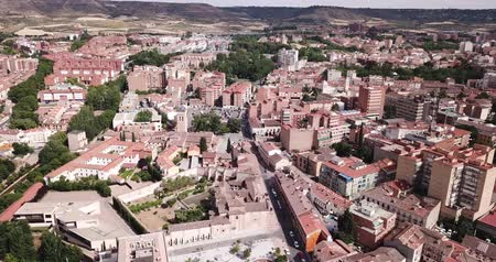 rendes : Panoramic view from the drone on the city Guadalajara. Spain Stock mozgókép