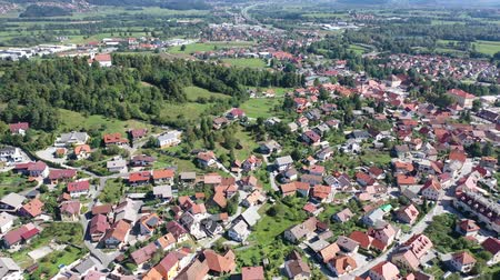 forestal : Picturesque autumn landscape of Ljubljana Marshes overlooking brownish roofs of houses of small Slovenian town of Vrhnika