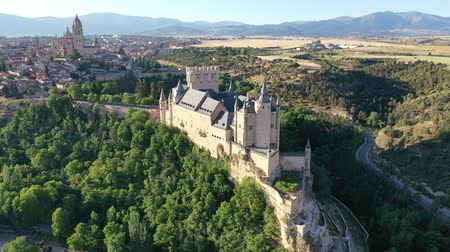 haziran : Aerial view of fortress Alcazar of Segovia. Spain Stok Video