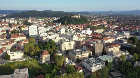 monumentális : Panoramic aerial view of Ljubljana cityscape with buildings and streets, Slovenia