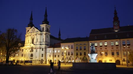 Čechy : Picturesque view of city of Jihlava and Masaryk Square with Saint Ignatius Church at night, Czech Republic Dostupné videozáznamy