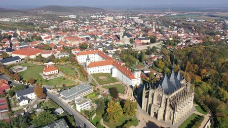 impressive skyline : Autumn cityscape of Kutna Hora with famous gothic Roman Catholic church of Saint Barbara and Baroque building of Jesuit College, Czech Republic