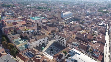 monumentális : Panoramic aerial view of Padua cityscape with buildings and streets, Italy