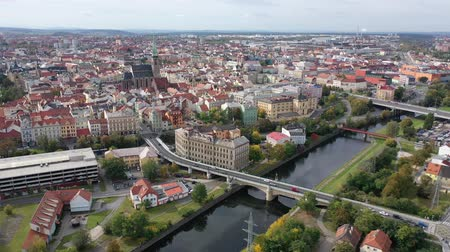 rendes : Panoramic view from the drone on the city Plzen. Czech Republic