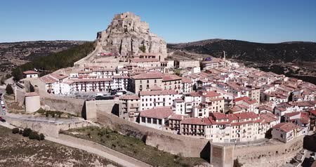 defensiva : Aerial view of impregnable fortress in medieval village Morella, Spain