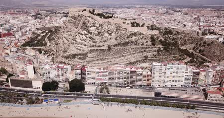 area of port : Picturesque panorama of coastal area of Spanish town of Alicante overlooking of Port