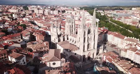メアリー : View from drone of impressive Burgos Gothic Cathedral on background of cityscape in summer day, Spain