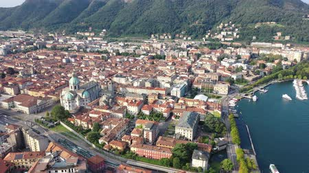 rendes : Panoramic aerial view of the city of Como. Italy Stock mozgókép