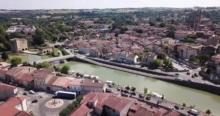 haziran : Panoramic view from the drone on the city Condom. France Stok Video