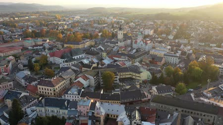 baptist : Panoramic aerial view of autumn landscape of Czech town of Sumperk with Church of Saint John Baptist and Town hall at sunrise, Olomouc Region