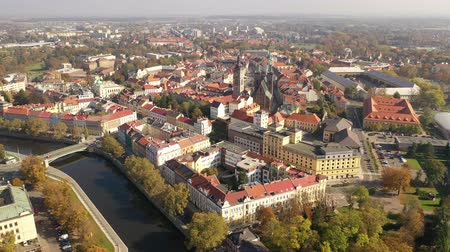 steeples : Scenic view from drone of Hradec Kralove cityscape overlooking White tower and Cathedral of Holy Spirit on autumn day, Czech Republic