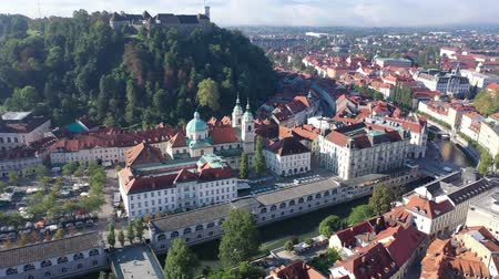 monumentális : Landscape of Slovenian town of Ljubljana, panoramic view from drone