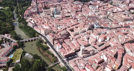 carrion : Aerial view of Palencia cityscape overlooking ancient Gothic building of Catholic Cathedral, Spain