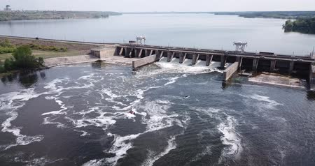 voronezh : Aerial view of pressure water dam on the river in Voronezh city, Russia