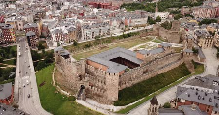 tartomány : View from drone of residence districts of Ponferrada and Templar castle, Spain
