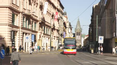 tramway : PRAGUE, CZECH REPUBLIC - OCTOBER 13, 2019: Cityscape of modern Prague streets on sunny day