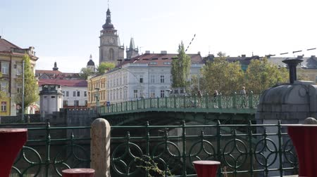 elba : View of Hradec Kralove cityscape with bridge across Elbe river on background with White Renaissance tower and belfries of Gothic Cathedral on sunny autumn day, Czech Republic
