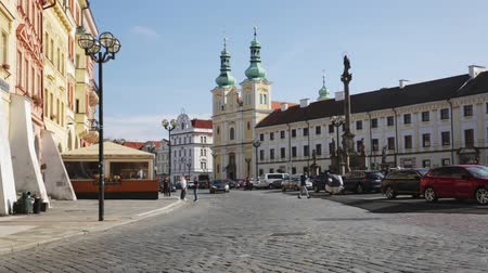 namesti : HRADEC KRALOVE, CZECH REPUBLIC - OCTOBER 18, 2019: Historic center of Hradec Kralove - main Great Square with Gothic Cathedral of Holy Spirit, White Renaissance tower and old baroque Town Hall