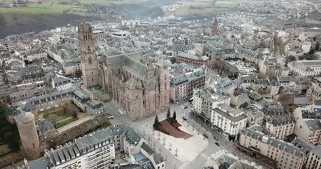 architectural heritage : View from drone of town of Rodez with Cathedral of Notre-Dame, France