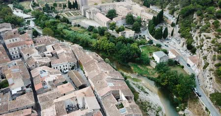hegytömb : Aerial view of medieval Benedictine monastic complex of Saint Mary in French commune of Lagrasse