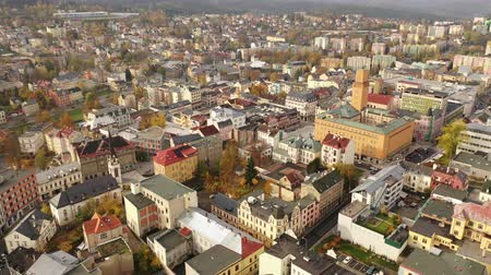 çatılar : Panoramic aerial view of autumn landscape of Czech city of Jablonec nad Nisou, Liberec Region