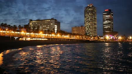 mob : View of Somorrostro Beach in summer night  Barcelona, Spain.